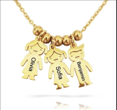Mother's Necklace with 1-8 Children Charms