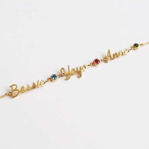 Personalized Name And Birthstone Bracelet