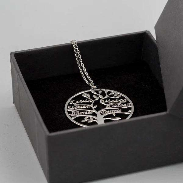 Engraved Family Tree Name Necklace