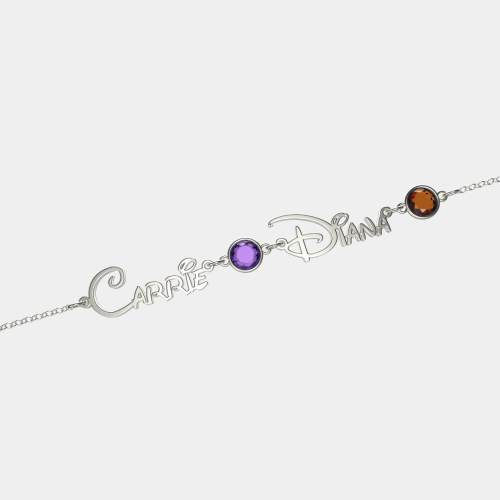 Personalized Princess Style Name And Birthstone Bracelet