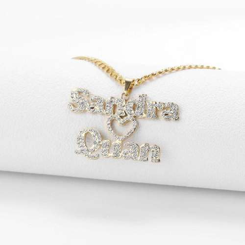 Sparkling Couple Name Necklace