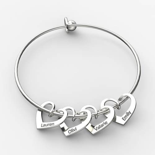Mama Bracelet with Heart Shape Pendants 925 sterling silver