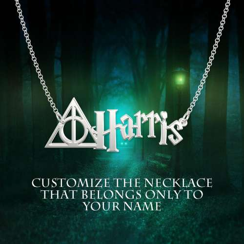 Personalized Deathly Hallows Style Name Necklace