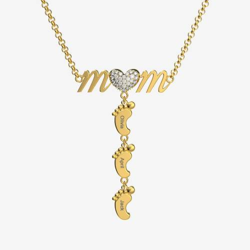 Unmissable Cute Mom Necklace With Baby Feet