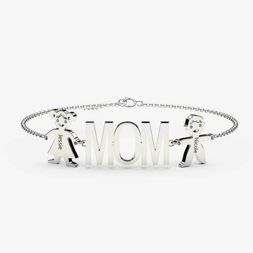 Mom Bracelets With Kids charm