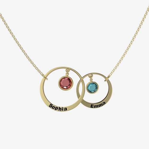 Mother & daughter birthstone name necklace