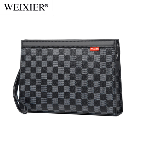 New handbag male business man clutch bag check envelope hand bag mobile phone bag fashion brand leisure large capacity