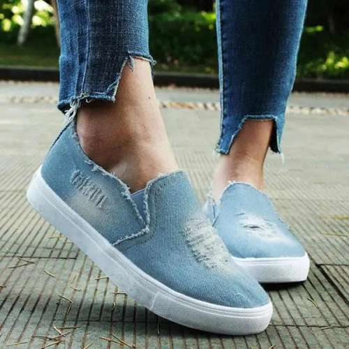 Sheilawears Women Denim Canvas A Pedal Lazy Sneakers Shoes
