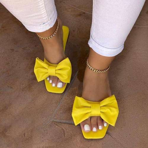 Sheialwears Women Fashionable Bowknot Pu Slippers