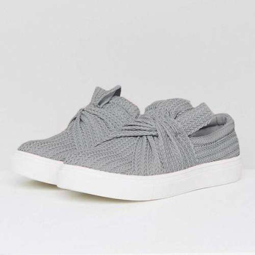 Sheilawears  Women Knitted Twist Slip On Sneakers