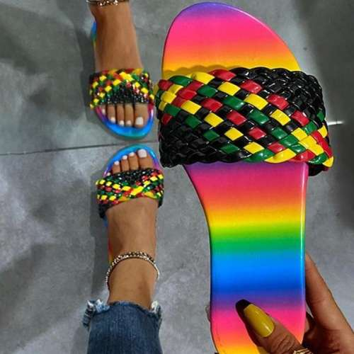 Sheilawears Unique Round-toe Multicolor Weave PU Leather Flat Slippers