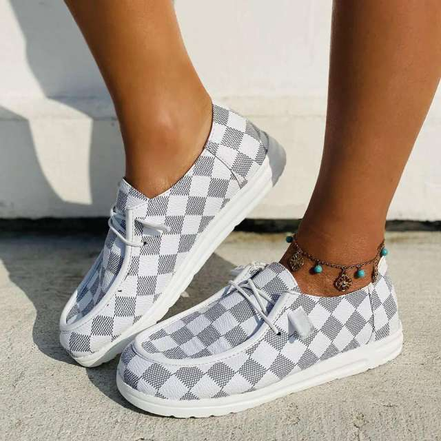 Sheilawears Women Comfy Classic Checkerboard Sneakers