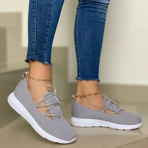 Sheilawears Women Comfy Lace-up Sports Knit Sneakers