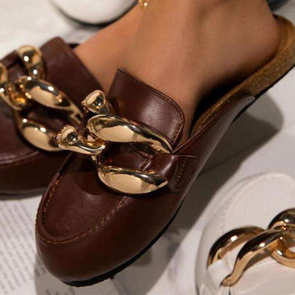 Sheilawears Women's Round-toe Splicing Chain PU Leather Flat Slippers