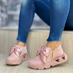 Sheilawears Women Fashion Bow Comfortable Flying Knit Sneakers