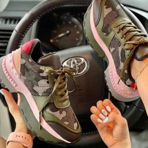 Sheilawears Women Camouflage Flying Knit Comfortable Sneakers