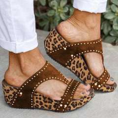 Sheilawears Women Rhinestone Animal Print Wedge Heel Sandals