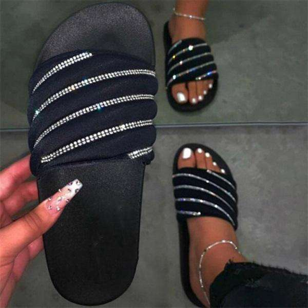 Sheilawears  BlingBling Rhinestone Casual Slip-On Slippers
