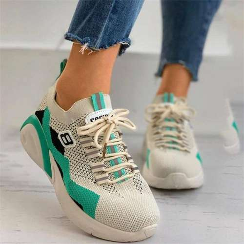 Sheilawears Women Fashion Flying Woven Casual Platform Sneakers
