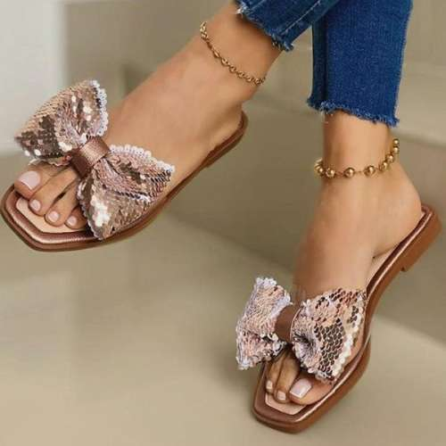 Sheilawears Women's Square-toe Splicing Sequin Bow Flat Slippers