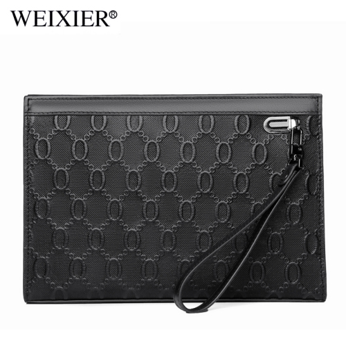 WEIXIER's new cofskin men handbag embossed purse envelope bag long cofskin hand clutch bag man