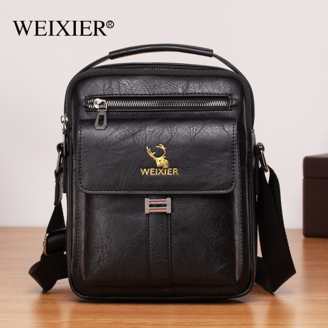 New European and American PU men cross-body bag large-capacity trend retro men's single-shoulder waterproof wearable cross-body bag