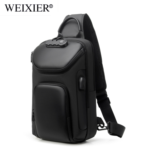 New chest bag usb charging anti-theft fashion men's shoulder bag versatile cross-body bag trend Oxford bra bag