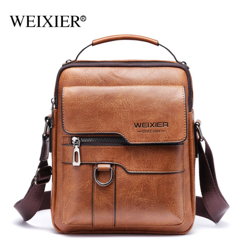 Single-shoulder bag for men cross-body bag PU large-capacity retro vertical handheld business single-shoulder bag for men